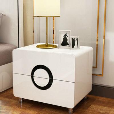 白色烤漆床头柜简约现代卧室储物柜特价斗柜简易大尺寸床边柜组装