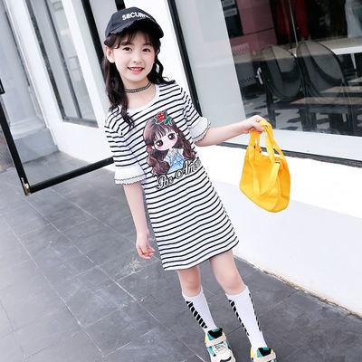 女童短袖T恤2020夏装新款童装中大童韩版洋气儿童中长款条纹上衣