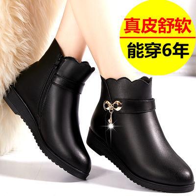 妈妈棉鞋女防滑平底真皮冬季皮鞋靴子女短靴加绒中老年女士棉靴女
