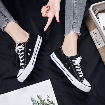 2019潮流帆布鞋女学生韩版百搭学院风平底鞋黑白色低帮高帮休闲鞋