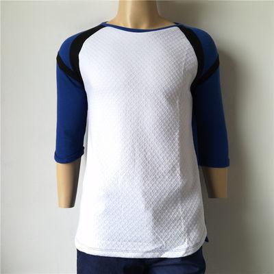 外贸出口剪标尾单库存欧美毛圈棉多色拼接舒适棉T恤春秋款T恤衫