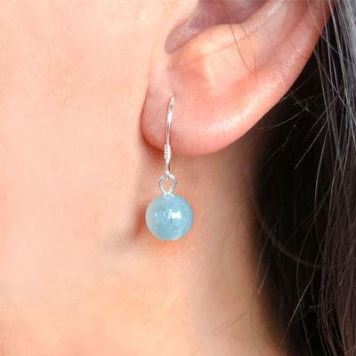 925纯银耳环天然水晶时尚饰品五行长款新款耳环古风网红百搭耳环