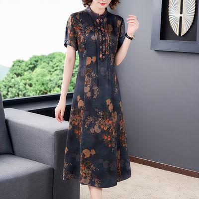 香云纱真丝连衣裙女夏2020新款高端复古修身显瘦妈妈装中长款裙子