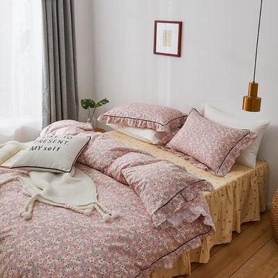 韩版四件套公主风全棉床裙款网红夏季床单被套纯棉三件套床上用品