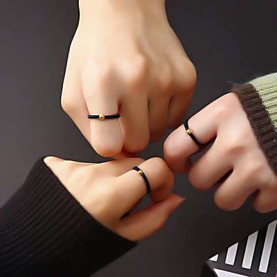 简约百搭时尚爆款小金豆戒指小红书抖音男女情侣学生戒指闺蜜礼物