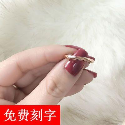 韩版时尚玫瑰金情侣戒指女潮人简约钛钢尾戒学生单身食指环网红