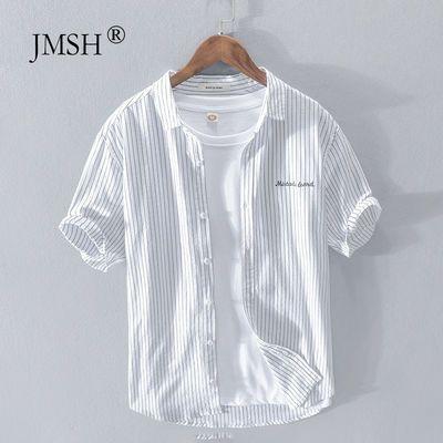 极麻清新条纹刺绣休闲短袖衬衫男士日系夏季透气青年宽松纯棉衬衣