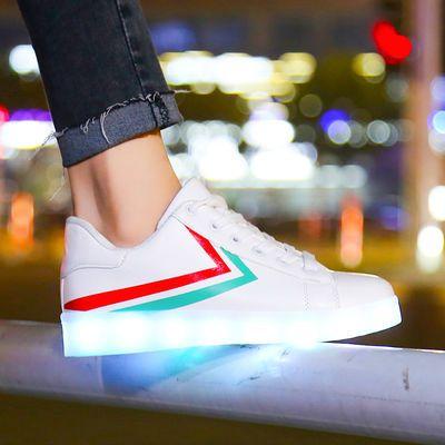 抖音充电七彩鬼步鞋子男发光鞋女情侣学生夜光带灯鞋闪光鞋街舞鞋