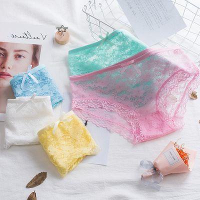 1u002F2u002F3条性感蕾丝内裤女大码透明透气网纱薄款女士中高腰