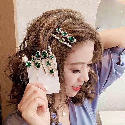 复古绿色系发夹轻奢水钻珍珠刘海夹女一字夹网红发饰边夹韩国头饰