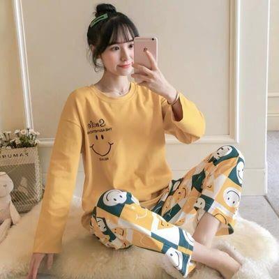 春秋新款韩版加大码睡衣少女夏可外穿女士长袖短袖休闲家居服套装