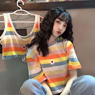 夏季韩版2020新款泫雅风超火彩色条纹刺绣小花宽松短款短袖T恤女