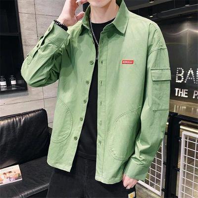 纯棉男士长袖衬衫春夏季新款韩版潮流帅气休闲宽松工装外套男衬衣