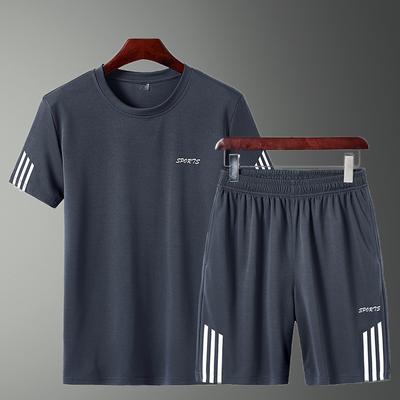 运动套装夏季男透气短袖薄款休闲青少年T恤五分短裤中年大码宽松