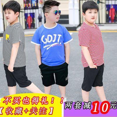 胖男童短袖体恤套装胖孩中大童加肥加大宽松大码夏装薄款两件套潮