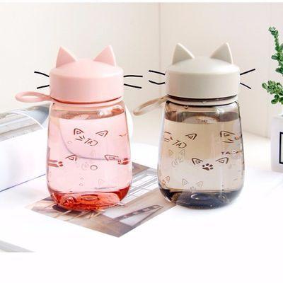 2020新款猫耳塑料杯女学生韩版简约时尚防摔可爱猫咪环保手提杯子