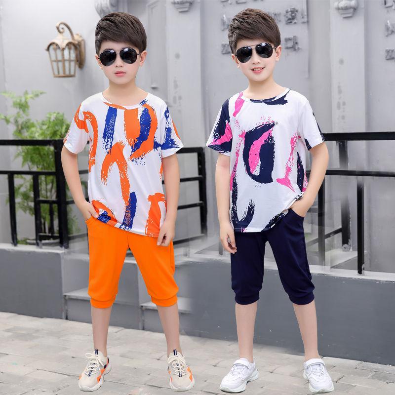男童套装中大童儿童短袖宽松小童运动t恤