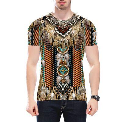 2020新款短袖上衣潮流印第安人 3D印花男士休闲T恤社会个性半袖衫