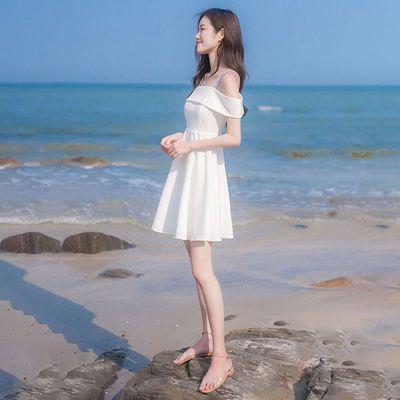 连衣裙女夏矮个子2020新款潮白色一字肩仙女吊带裙短款性感a字裙