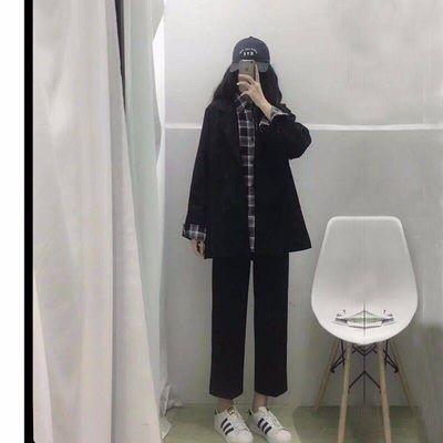 春季裤子女学生韩版宽松显瘦最新款黑色直筒裤高腰九分休闲西装裤