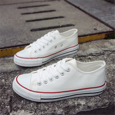 春低帮白色帆布鞋女鞋子韩版休闲平底板鞋学生系带女球鞋情侣单鞋