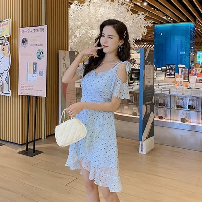 雪纺吊带连衣裙2020夏季新款复古波点慵懒风不规则荷叶边超仙短裙