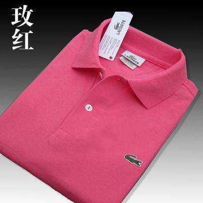 纯棉夏装法国鳄鱼Lacoste短袖纯色翻领T恤男女款时尚经典POLO衫