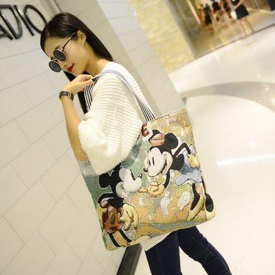 新款女包卡通织绣简约帆布包单肩包韩版休闲大包包手提包购物袋潮