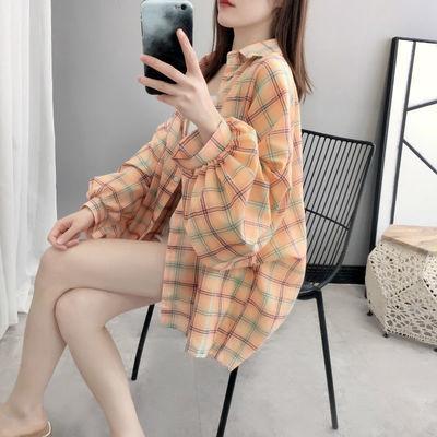 春季新款格子衬衫女学生韩版宽松薄款休闲百搭灯笼袖上衣外套潮夏