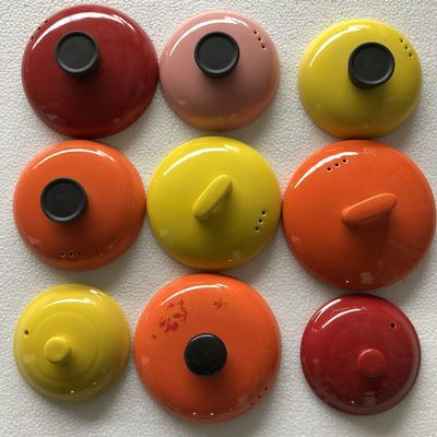 彩色砂锅盖子配件陶瓷砂锅盖子黄色粉色汤锅炖锅盖子电炖盖药壶盖
