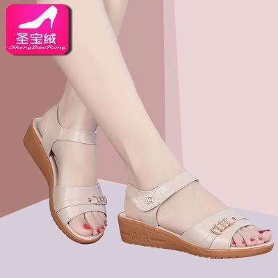夏季真皮凉鞋女平底一字扣厚底中年女士妈妈凉鞋坡跟软底防滑大码