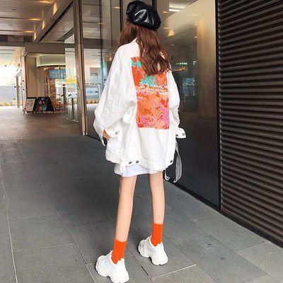 连帽学院风衣女春秋新款韩版宽松学生中长款嘻哈风工装外套女 潮