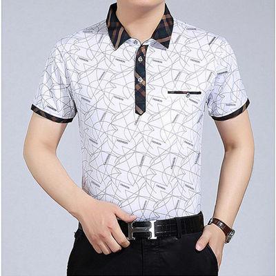 夏天爸爸装短袖T恤男中老年大码新款打底衫2020款印花POLO衫