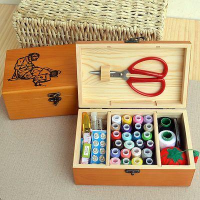 原创正品全实木针线盒带工具套装针线包家用复古缝纫线针线收纳盒