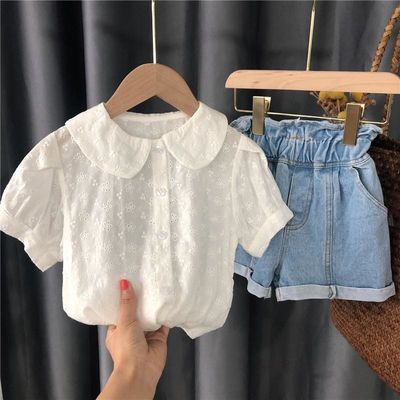 2020女童新款公主衬衣甜美时尚洋气宝宝衬衫夏季婴儿短袖上衣小童