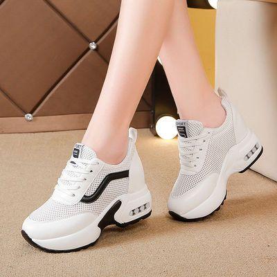 内增高小白鞋女2020春夏季新款韩版百搭镂空透气休闲网面运动鞋女