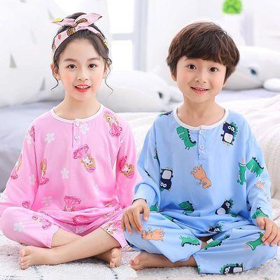 儿童棉绸睡衣夏季薄款男童女童绵宝宝中大童长袖套装绸空调家居服