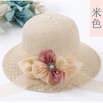 港风夏天帽子女士出游太阳帽百搭盆帽可折叠遮阳帽时尚出游凉帽女
