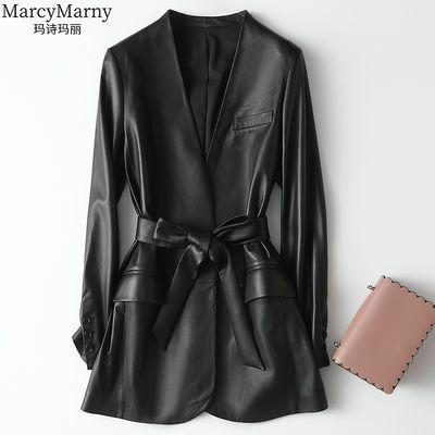 玛诗玛丽 2020春装新款海宁真皮皮衣女中长款系带修身绵羊皮外套【6月26日发完】