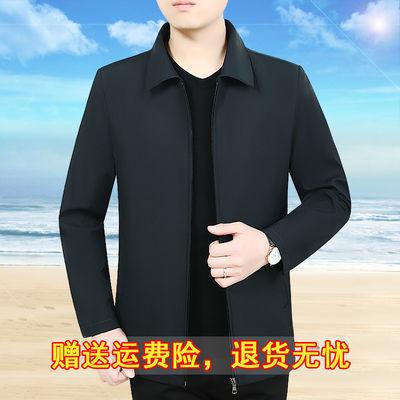 中老年男士外套新款休闲翻领男装爸爸装春秋夹克上衣