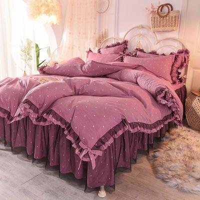 爆款网红蕾丝床裙四件套韩版公主风全棉纯棉简约被套加带床罩式床