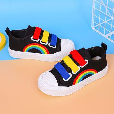 大笨熊男女童帆布鞋学生鞋跑步鞋板鞋春季小白鞋运动鞋软底透气鞋