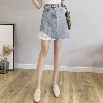 短裙女夏拼接牛仔裙a字半身裙适合胯大腿粗的裙子新款高腰包臀裙