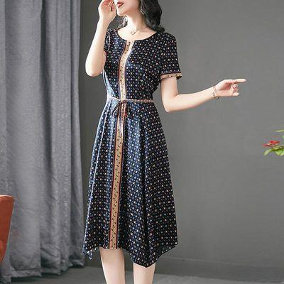 重磅仿真丝连衣裙女2020夏季新款系带印花修身妈妈仿桑蚕丝中长款