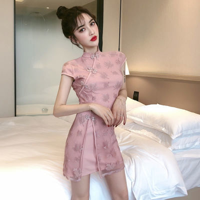 年轻旗袍款港味日常气质蕾丝拼接性感开叉复古收腰包臀短袖连衣裙