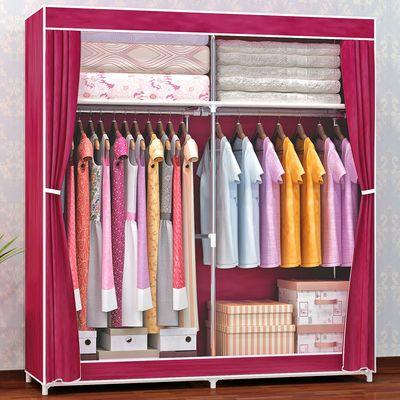 爆款简易衣柜单双人布衣柜钢管加固加厚布艺组装衣橱大号挂衣架带