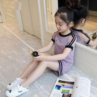 纯棉女童韩版套装2020新款中大童夏季运动时髦洋气短袖休闲两件套