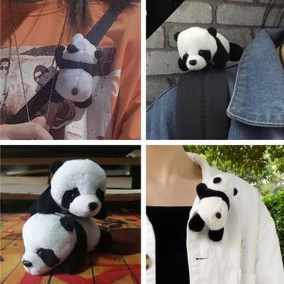 全身趴趴熊猫卡通可爱胸针胸花女别针学生可爱韩版毛绒公仔装饰配