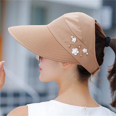 新品夏天帽子女士户外骑车遮脸防紫外线遮阳帽出游百搭中年太阳帽