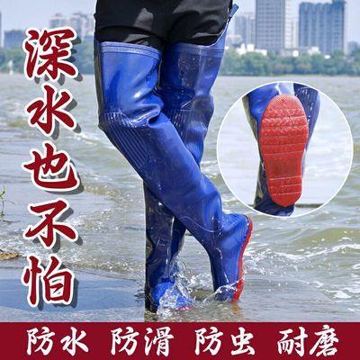 齐腰半身下水裤连体雨鞋过膝水鞋雨靴防水靴套鞋加长高筒胶鞋男女